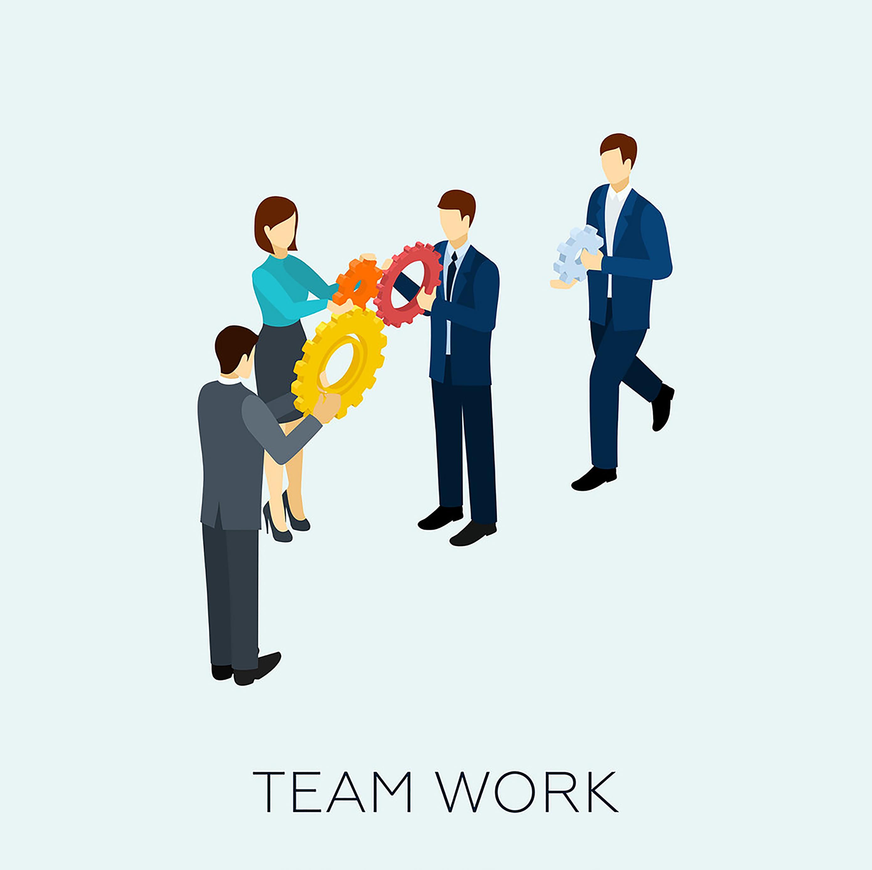 در کار تیمی اعضا مانند چرخ دنده با یکدیگر در ارتباط اند.